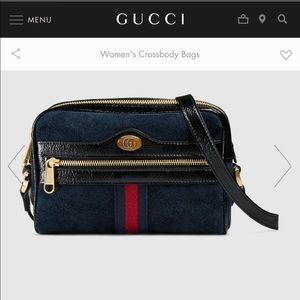 Gucci Ophidia suede mini bag (Navy)
